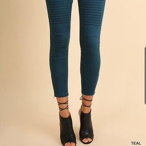 NWT Umgee teal moto jeggings medium skinny